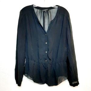 Babaton 100% Silk Blouse Button Down Sheer Black M